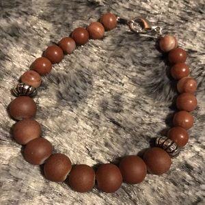 Brown Jasper Gemstone bracelet w/ Rubberized Glass